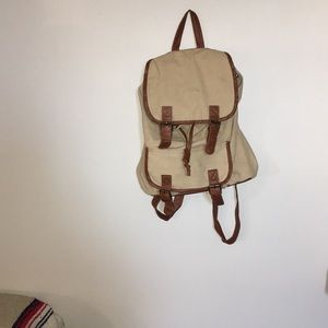 Handbags - FREE WITH PURCHASE tan canvas and leather backpack